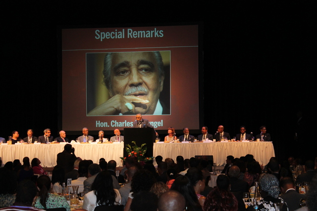 Charles Rangel speaks at the Greater Harlem Chamber of Commerce's Economic Development Day.