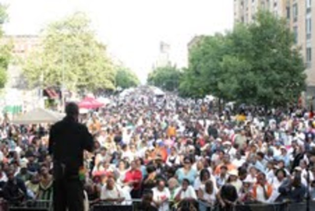 Crowds at a 2011 Harlem Week performance.