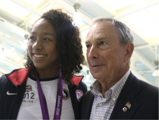 Lia Neal with Mayor Michael Bloomberg on Aug. 10, 2102.