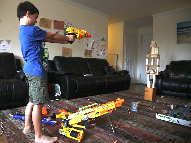 Amy Milstein's 8-year-old son uses Lego man as target practice.