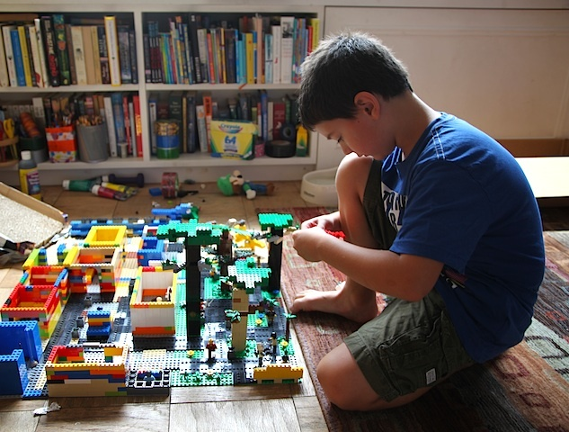 Ben Milstein, 8, built a small New York-inspired Lego town.