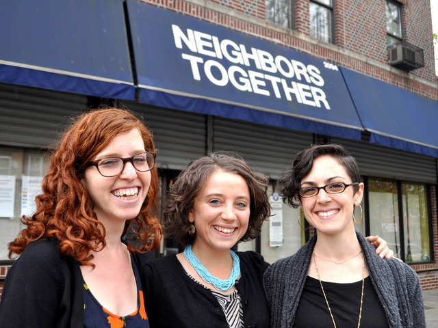 Avodah volunteers outside Neighbors Together, one of several organizations that partner with the Jewish Service Corps.