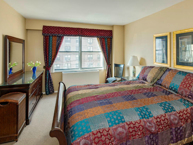 The master bedroom of a 3-bedroom, 2.5-bathroom apartment at the East Wind Condominiums, 345 East 80th St., 6EF on the Upper East Side, listed for $1.599 million by Prudential Douglas Elliman.