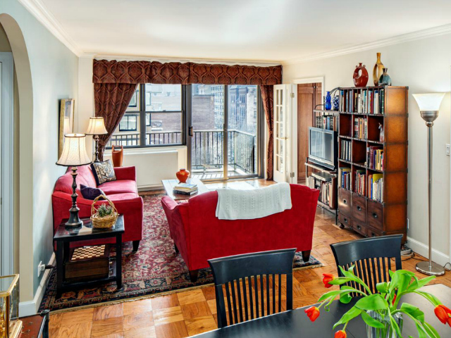 The living room of a 3-bedroom, 2.5-bathroom apartment at the East Wind Condominiums, 345 East 80th St., 6EF on the Upper East Side, listed for $1.599 million by Prudential Douglas Elliman.