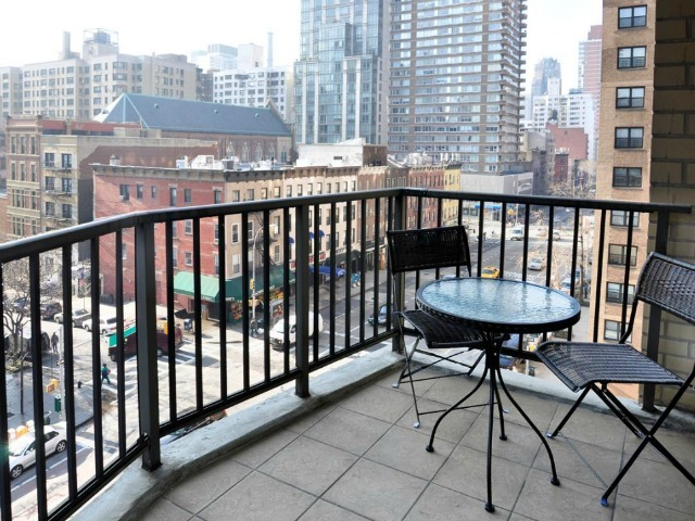 The balcony of a 3-bedroom, 2.5-bathroom apartment at the East Wind Condominiums, 345 East 80th St., 6EF on the Upper East Side, listed for $1.599 million by Prudential Douglas Elliman.