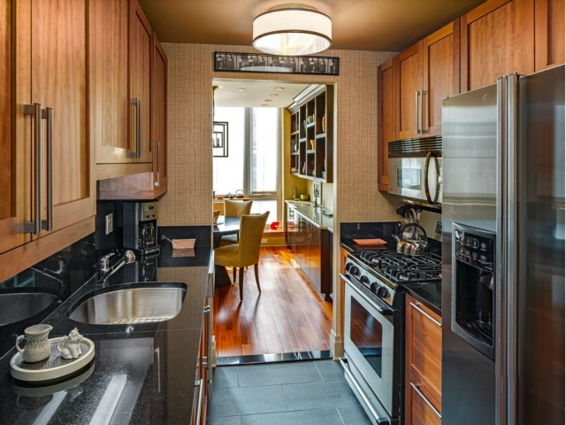 The kitchen of a 2-bedroom, 2.5-bathroom apartment at the Seville, 300 East 77th Street, 6B on the Upper East Side, listed for $1.849 million by Prudential Douglas Elliman.