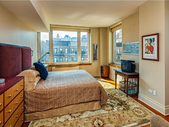 The master bedroom of a 2-bedroom, 2.5-bathroom apartment at the Seville, 300 East 77th Street, 6B on the Upper East Side, listed for $1.849 million by Prudential Douglas Elliman.