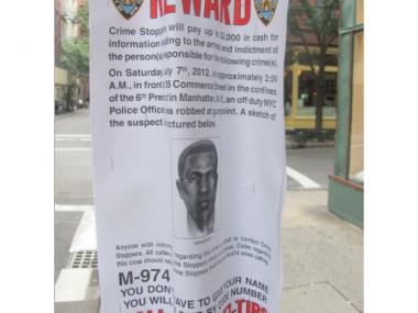 Fliers with a sketch of a robbery suspect whose victims included an off-duty NYPD officer were spotted in the West Village in August 2012.