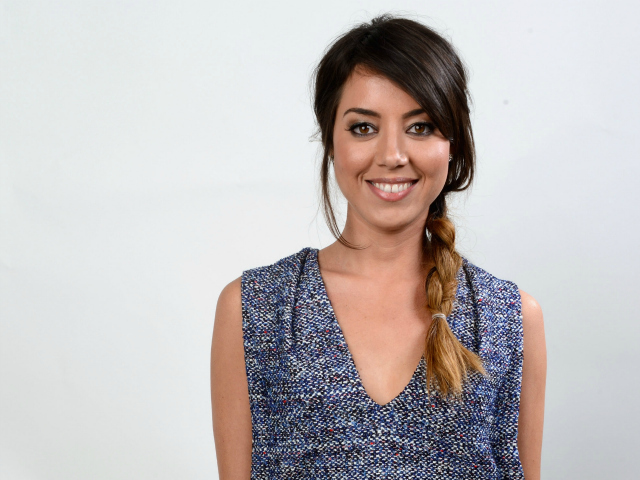 "Aubrey Plaza, star of the hit NBC comedy ""Parks and Recreation,"" sports a braided side ponytail."