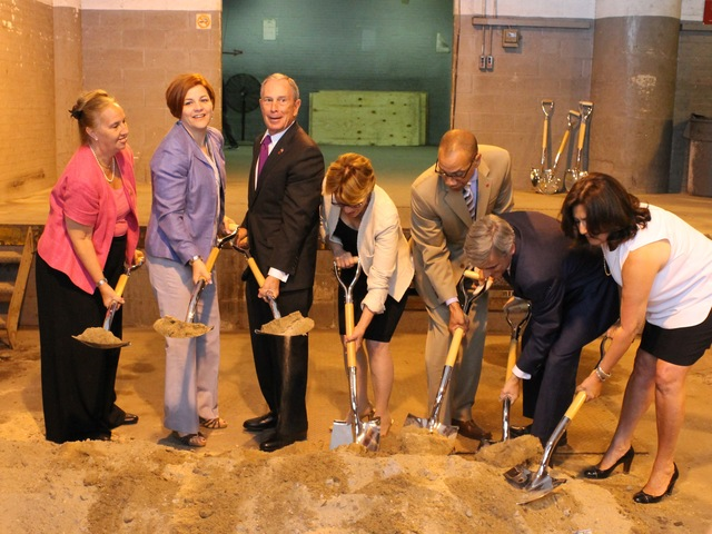 <p>City Council Speaker Christine Quinn, Mayor Michael Bloomberg and other officials break ground at the new Beacon School.</p>
