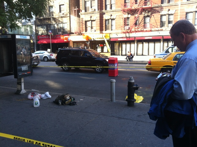 The scene where a cop shot a dog after police said it charged him, on August 13, 2012.