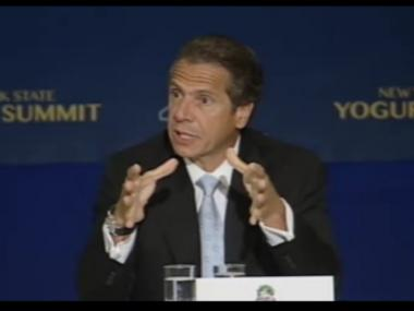 Gov. Andrew Cuomo speaks at the yogurt forum in Albany on Wed.,, Aug. 15.