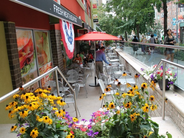 The outdoor seating area at 55 Fulton Market, which opened Aug. 15, 2012.