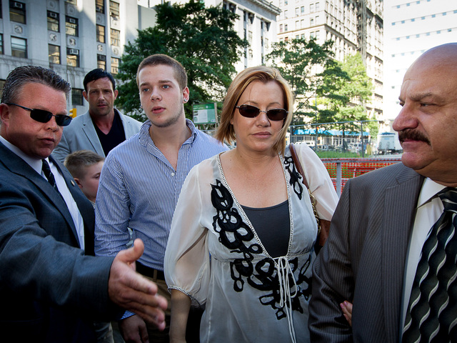 Anna Gristina, 44, and her family arrive at Manhattan Supreme Court.