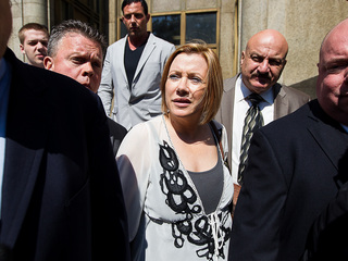 <p>Anna Gristina leaving court with her lawyer, Norman Pattis, and her son, Stefano, after pleading guilty to a single count of promoting prostitution on Sept. 25, 2012.</p>