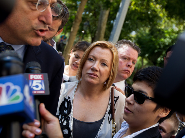 Anna Gristina, 44, leaves Manhattan Supreme Court with daughter Suzanna Pak, 24, and her lawyer Norman Pattis on August 16th, 2012.