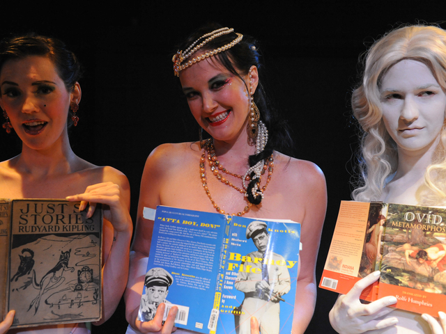 From left to right: Hazel Honeysuckle, Runaround Sue and Galatea at Naked Girls Reading in the East Village.