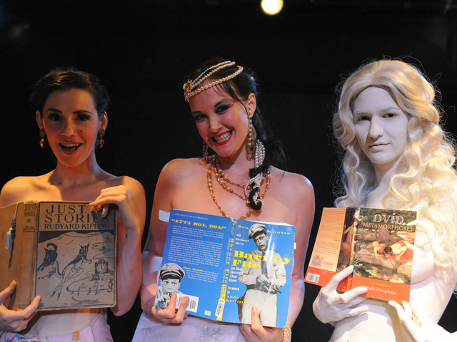 "From left to right: Hazel Honeysuckle, Runaround Sue and Galatea at ""Naked Girls Reading"" in the East Village."