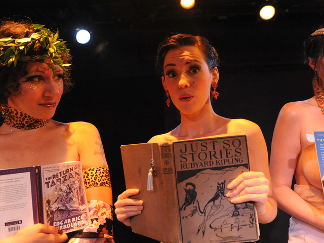 "Zelda Bloomer (l.) and Hazel Honeysuckle at ""Naked Girls Reading"" in the East Village."