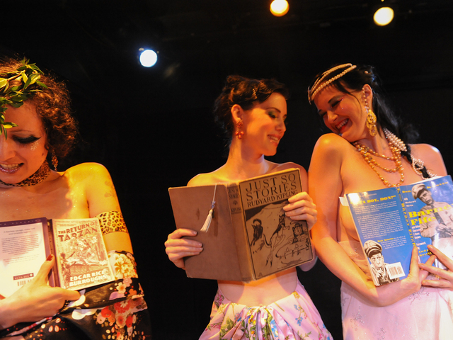 "Zelda Bloomer, Hazel Honeysuckle and Runaround Sue at at ""Naked Girls Reading"" in the East Village."