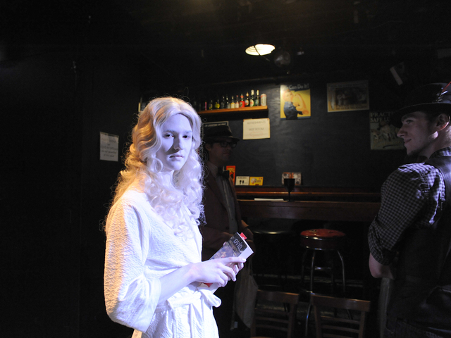 "Galatea following her ""Naked Girls Reading"" performance in the East Village."