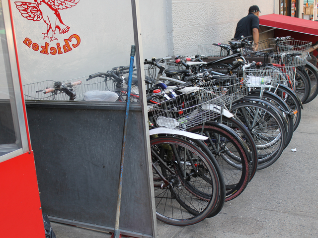 <p>Food-delivery bikes outside the Upper West Side restaurant Chirping Chicken on Aug. 16, 2012. The city will ramp up its enforcement of traffic rules for commercial cyclists in January, 2012.</p>