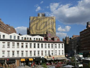 Famed Japanese artist Yayoi Kusama designed the netting for the condo conversion at 435 W. 14th St.
