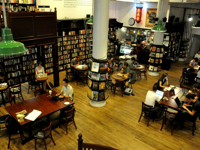 The Housing Works Bookstore Cafe is open until 9 p.m. on weeknights, but staffers said the space fills up the later it gets. If you want to snag a seat, it may be best to get there early.