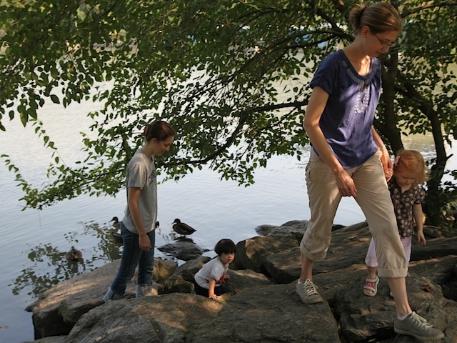 Katherine Ness taker her daughter Lydia to feed the ducks in Inwood Park almost every day.