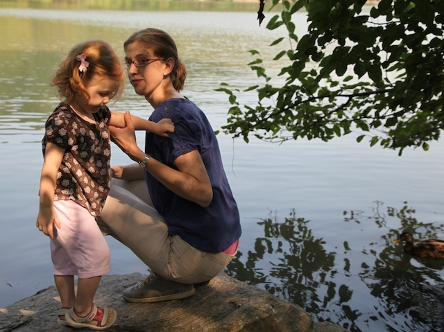 Katherine Ness takes her toddler Lydia to feed the ducks in Inwood Hill Park everyday.