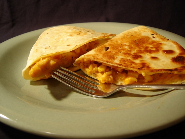 Chicken quesadillas take about five to 10 minutes with this microwave-friendly recipe.