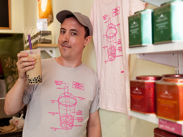 Winn O'Donnell, 29, owner of Thirstea on Avenue A and E.10th St., says he's worried about how Bloomberg's large drink ban may impact his business.