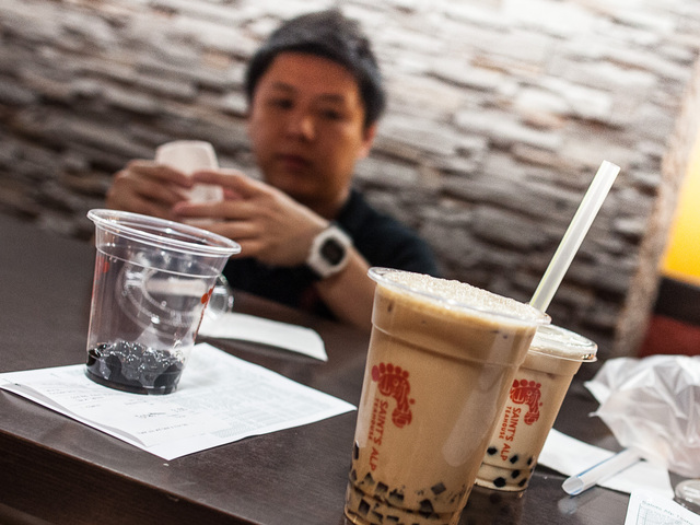 A server picks up an order of Bubble Tea at the St. Alps Teahouse in the Lower East Side on Aug. 19th, 2012.