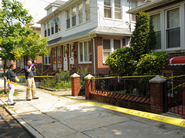 The clip and the gun allegedly used to shoot the livery cab passenger was found here at 1591 East 52nd Street on Saturday, Aug. 18, 2012.
