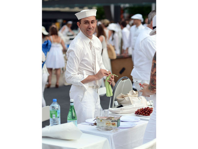 Dandy was just right at Lincoln Center for New York's second annual Diner en Blanc, Monday, August 20, 2012.