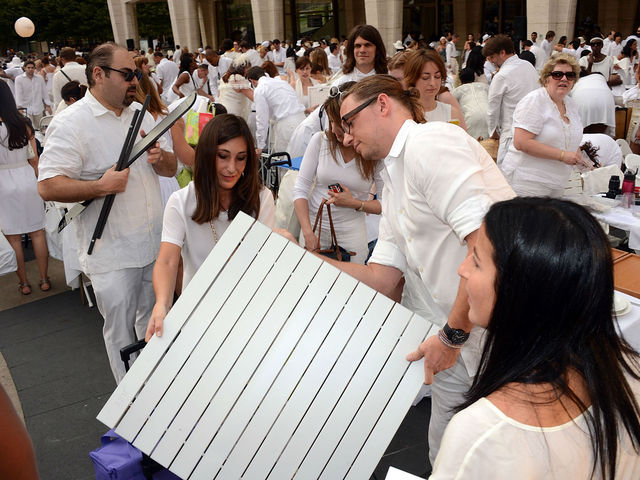 Assembly was required at Lincoln Center for New York's second annual Diner en Blanc, Monday, August 20, 2012.