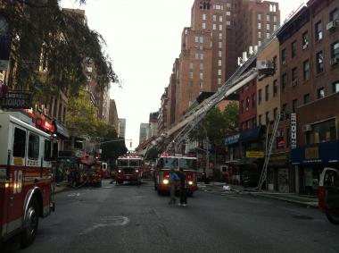 Firefighters respond to a blaze on the Upper East Side Tuesday.