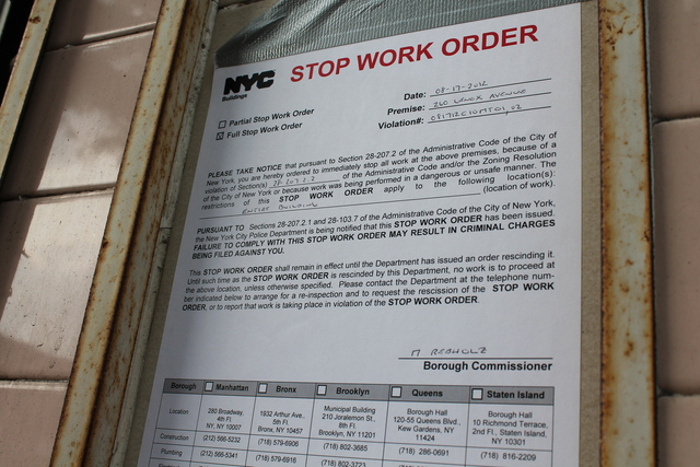 A stop work order was issued at 260 Lenox Ave. after the scaffolding was removed.