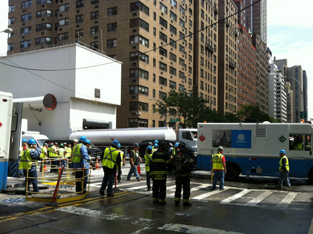 Emergency workers on scene at Second Avenue and East 72nd Street on Tuesday, Aug. 21, 2012.