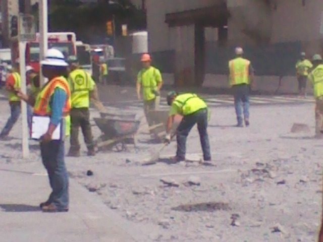 A blast at the Second Avenue subway construction site sent rocks flying up into the street Aug. 21, 2012.