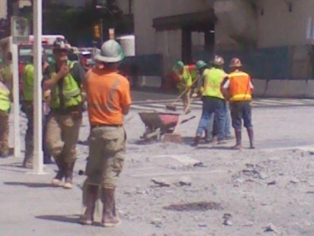 Rubble at 72nd Street and Second Avenue after an underground blast went awry Aug. 21, 2012.