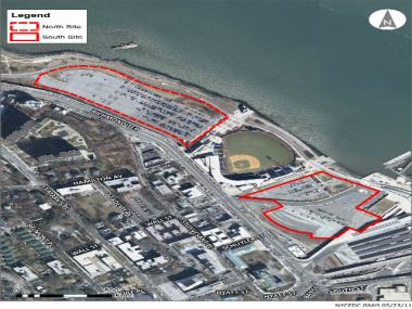 The planned outlet mall would be built on the south parking lot, while the rumored Staten Island Ferris wheel would be built on the north. The EDC put out requests to build on the two lots last August.