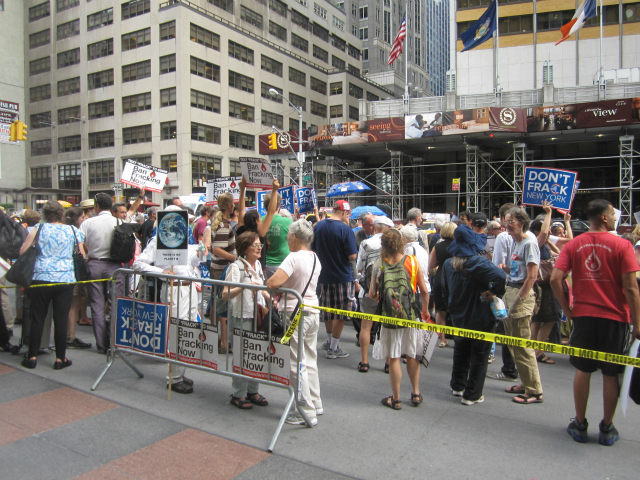 The protest was targeted at New York Gov. Andrew Cuomo, who was scheduled to be across the street at the Sheraton Hotel on Wednesday, Aug. 22, 2012.