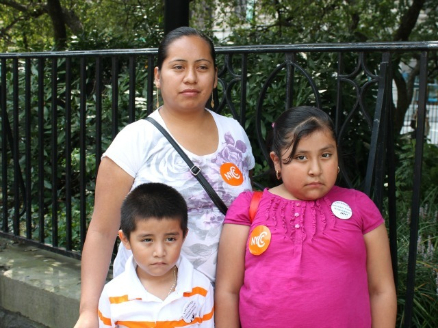 Anastacia Gonzalez, pictured with her two young kids, blames a lack of paid sick leave for her husband's death.