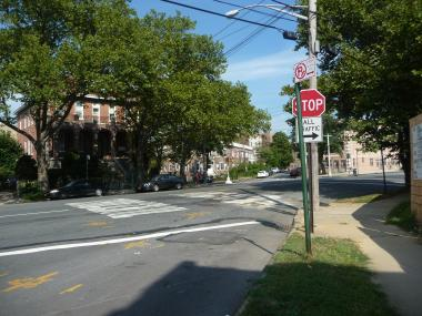 The intersection of Bronxwood Avenue and Williamsbridge Road in The Bronx, where a 70-year-old woman died in a car accident Tuesday, Aug. 21, 2012.