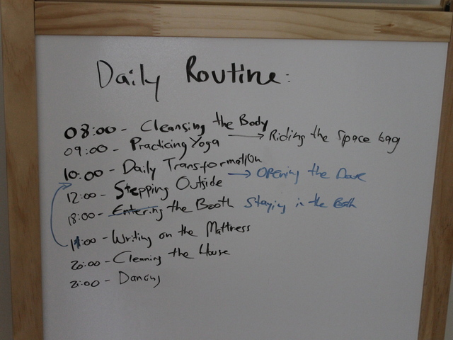 Lital Dotan keeps a daily routine that she has written on a white board in her apartment.