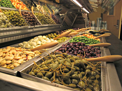<p>The new Whole Foods on East 57th Street also features an olive bar.</p>
