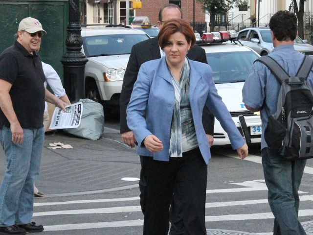 Christine Quinn walks to the West 4th Street subway station in preparation to hand out flyers.