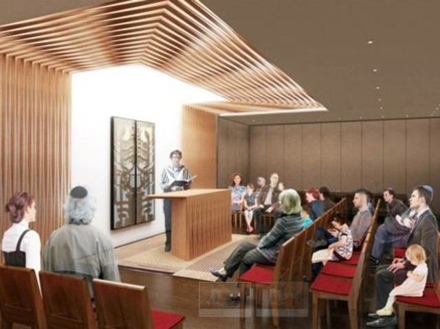 A rendering of the chapel space at the new Congregation Beit Simchat Torah building.