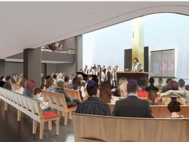 A rendering of the sanctuary space at the new Congregation Beit Simchat Torah building.